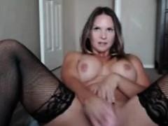 Busty blonde milf toying pussy on webcam