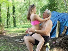 Oldman and young girl fucking in a forest