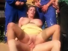 MILF Pleasing A Lot Of Cocks Outside