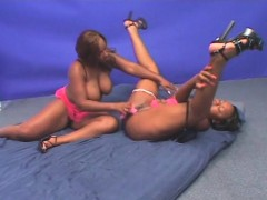 BBW lesbo ebony gets twat licked and dildoed