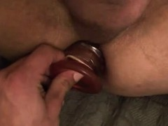 Amateur twink fucked with a dildo for a money shot