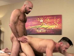 Hairy Adam pushes big cock on muscled Mike narrow ass