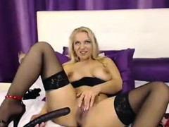 Horny Blonde Mom Masturbates