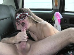 Costumed babe does anal in fake taxi