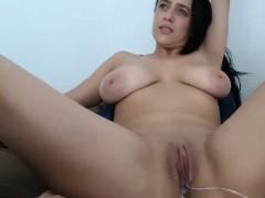 Big Tit Babe Rubbing Clit on Webcam
