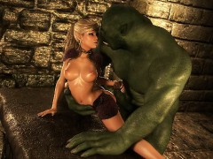 3D Elf Princess Ruined by an Ogre!