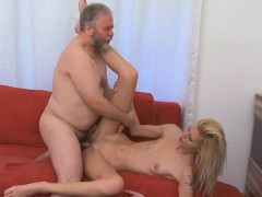 Delightsome young gal enjoys old hard rod entering her pussy