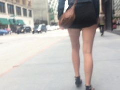Butt falling with experience out of her pants