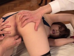Huge tits Japanese fuck slave Tomoe tag teamed and creampied