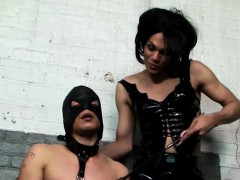 Tranny Commands A Guy To Lick Her Boots
