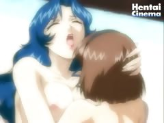Two hentai chicks are playing with one huge hentai dick