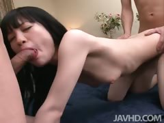 Cute Japanese idol Mizutama Remon takes on two hard dicks