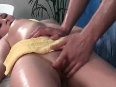 Brunette get rubbed pussy and mouth by cock