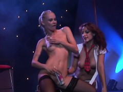 Lesbian sex show on phase that is public