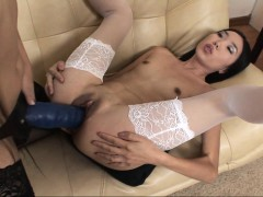 Lesbian matures in stockings strapon fun