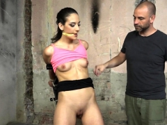 Dominating maledom restrains sub for toying
