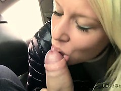 Blonde in knickers fucked in taxi