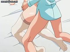 Anime nurse chick gets jizz