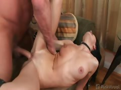 Sexy brunette Rebecca couldn't wait to slobber all over the
