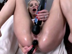 Ashley Fires takes dildo and a huge cock in her ass