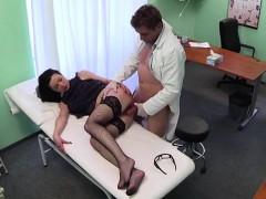 Gorgeous Inga gets cured by doctors dick