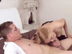 Shaved pussy blonde MILF fucking and getting creampie