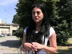 Brunette amateur sits on strangers dick outdoor
