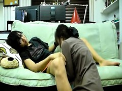 Asian girlfriend with bush getting anal fucked on the sofa