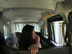 British amateur with huge tits bangs in fake taxi