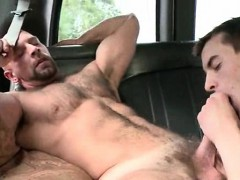 Two naked dudes in sex bus hardcore anal sex scene