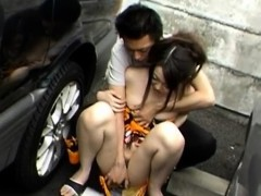 Pervs swap gfs and make them suck their cocks in public