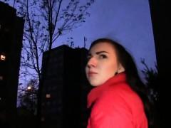 Czech amateur gets creampie in public