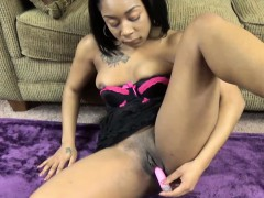 Ruby Banks fucks her ebony pussy with a toy