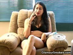 Brunette slut smoking while being interviewed wearing only
