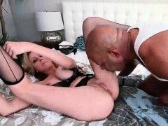 Stockinged blonde working a huge black cock