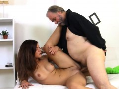 Crazy old fucker is happy to slam juicy cunt of a young girl