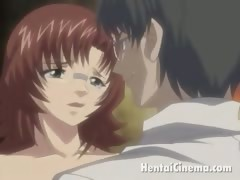 Flirty redhead hentai honey getting little cooze fingered
