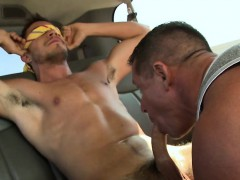 Raunchy jock riding with two lusty gay hunks at the car park