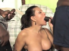 Teri Weigel takes two black cocks in front of her son