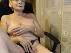 Granny in panties masturbating