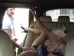 Huge boobs blonde taxi driver screws in public