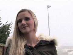 Natural busty Euro teen bangs in public