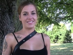Euro amateur swallows cum outdoors