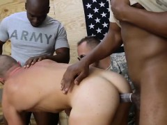 White gay trooper takes two long black cocks