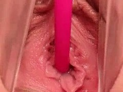 Hot redhead giving close up of her large cunt hole