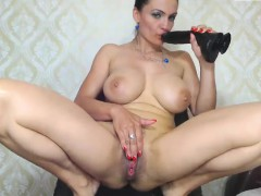 Tiny boobs MILF toys her pussy and ass