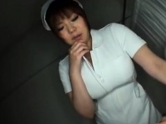 Busty asian nurse gives booby treatment to patient
