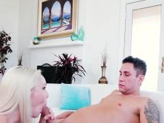 Blonde girlfriend bouncing on big cock