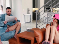 Teenage stepdaughter Brenna Sparks bent over and pounded