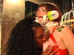 Muffled oriental beauty gets her tits pinched bdsm style